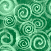 Watercolor Green Spiral Abstract Background With Splashes, Drops. Hand-painted Texture. Seamless Pattern. Watercolor Stock Illustration. Design For Backgrounds, Wallpapers, Covers, Textile, Packaging.