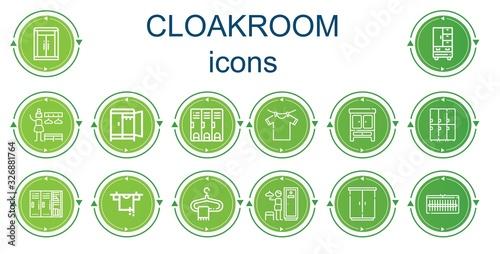 Editable 14 cloakroom icons for web and mobile Tapéta, Fotótapéta