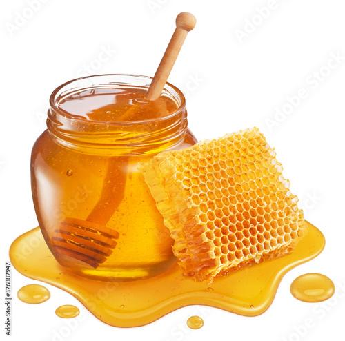 Fototapeta Glass pot of honey, honeycombs and sweet sticky honey puddle isolated on white background. obraz