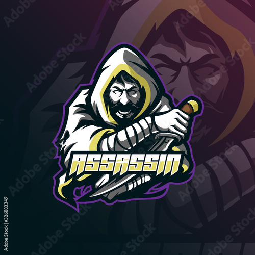 Photo assassin mascot logo design vector with modern illustration concept style for badge, emblem and tshirt printing