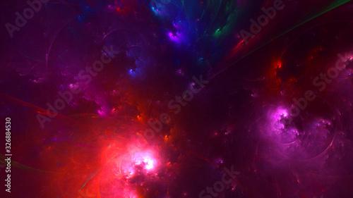 Fotografie, Obraz 3D rendering abstract red fractal light background