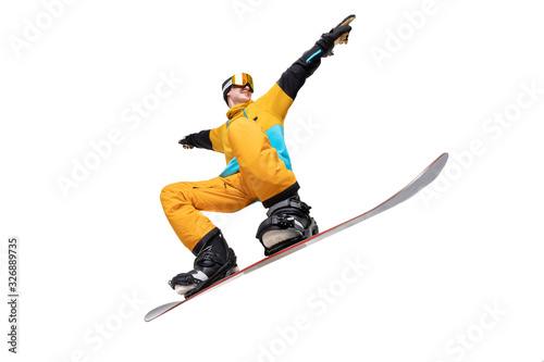 Fotografering Portrait young man snowboarder jump on snowboard in sportswear isolated white ba