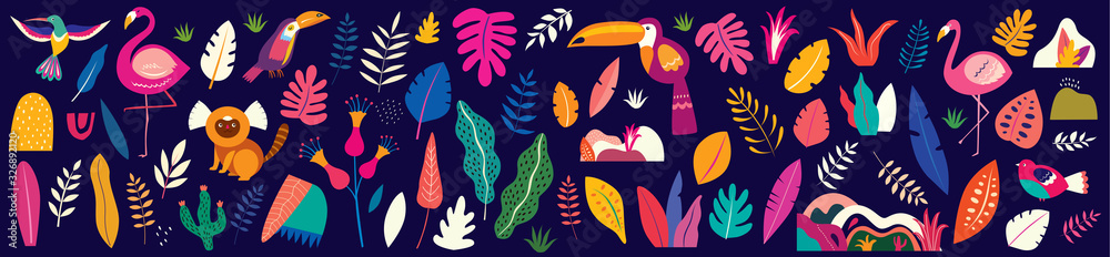 Fototapeta Animals big collection. Animals of Brazil. Vector colorful set of  illustrations with tropical flowers, leaves, monkey, flamingo, and birds. Brazil tropical pattern.  Rio de janeiro pattern,.