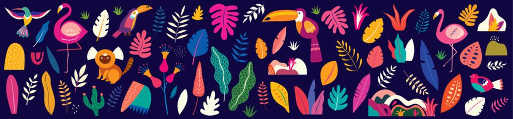 Animals big collection. Animals of Brazil. Vector colorful set of  illustrati...
