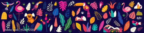 Obraz Animals big collection. Animals of Brazil. Vector colorful set of  illustrations with tropical flowers, leaves, monkey, flamingo, and birds. Brazil tropical pattern.  Rio de janeiro pattern,. - fototapety do salonu