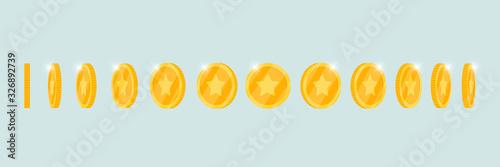 Fototapeta Gold 3d coin turn around different position set for game or apps animation. Bingo jackpot casino poker win rotation elements. Cash treasure concept flat eps vector illustration obraz