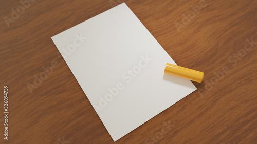 机に置かれた白紙と社判・実印・認め印などと呼ばれ、日本式の取引で使われるスタンプ Canvas Print