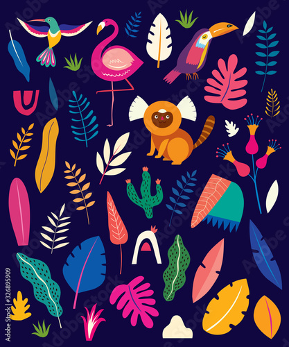Vector colorful pattern with tropical flowers, leaves, monkey, flamingo and birds. Brazil tropical pattern.  Rio de janeiro pattern,. - 326895909