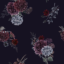 Beautiful Vector Seamless Pattern With Watercolor Dark Blue, Red And Black Dahlia Hydrangea Flowers. Stock Illustration.