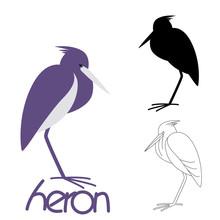 Heron Bird,vector Illustration...