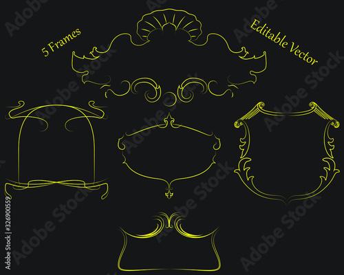 Fototapeta Set of editable vector, decorative frames