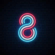 8 Colorful Number Neon Sign. B...