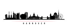 Hannover  Skyline Horizontal Banner. Black And White Silhouette Of Hannover, Germany. Vector Template For Your Design.