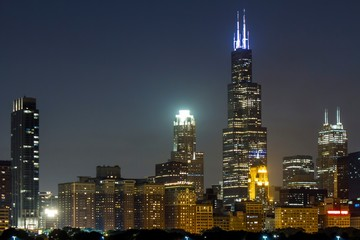 Beautiful view of Chicago skyline at night, Illinois, USA