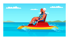 Happy Man And Woman Couple Riding Foot Pedal Boat
