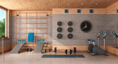 Canvas Home gym in a concrete and wooden room