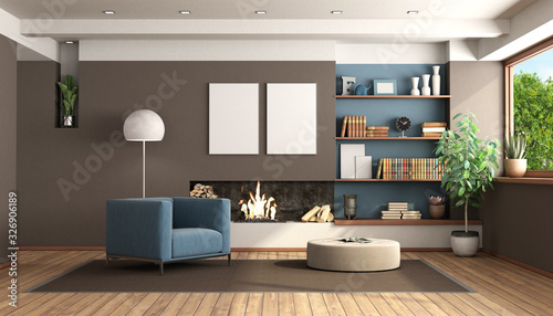 obraz dibond Modern living room with fireplace