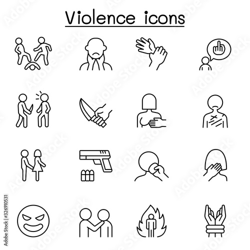 Cuadros en Lienzo Violence, human trafficking, abuse, sexual harassment icon set in thin line styl