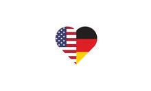 USA Germany Heart Shape Love Symbol National Flag Countries Friendship