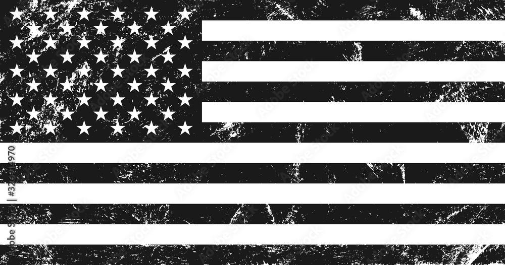 Fototapeta Grunge USA flag. Original proportions, black and white version.