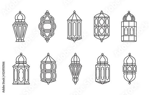 Line Islamic Arabic Lantern Symbol Icon Collection Set Isolated Canvas