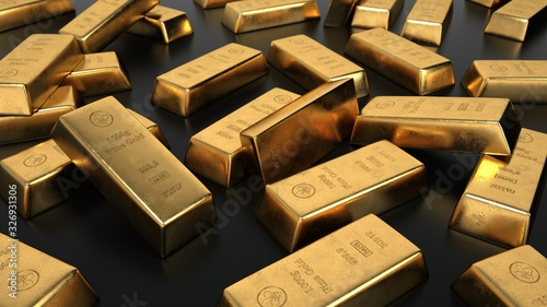 Obraz 1000g gold bars of a bank. 3d illustration. - fototapety do salonu