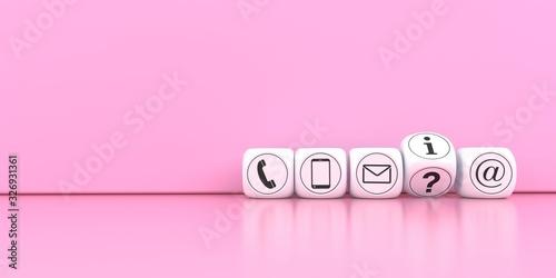 Plakaty różowe  contact-cubes-on-the-pink-background-3d-illustration