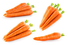 Carrot Isolate. Carrots On White Background. Carrot Top View, Side View.