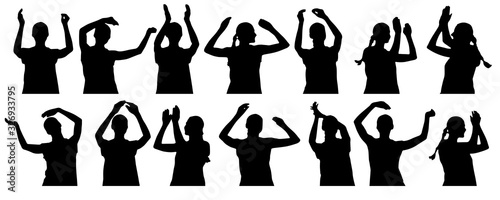 Silhouettes of applauding woman, clapping hands, waving hands Wallpaper Mural