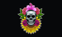 Skull With Flowers And Leaves ...