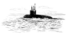 Seascape With A Submarine. Han...