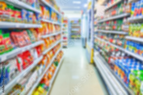 Aisle shop background in soft focus Wallpaper Mural
