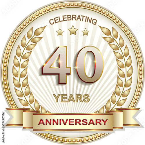 40 years anniversary vector golden design background for celebration, congratula Fototapet