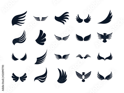 Leinwand Poster Isolated wings and eagles silhouette style icon set vector design