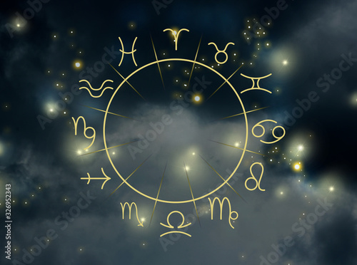 Photographie Illustration of night sky with stars and zodiac wheel