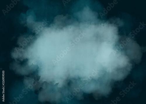 background sfondo nube di fumo blu su sfondo scuro Canvas Print