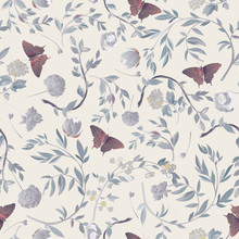 Orange Butterfly Framed By Graceful Floral Branches Seamless Pattern.