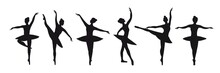 Set Of Six Silhouettes Of Pose...