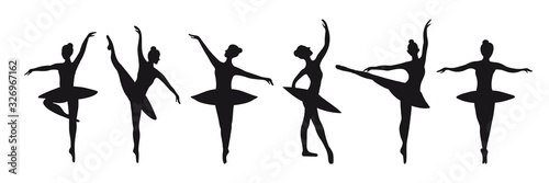 Set of six silhouettes of poses of ballerinas Canvas Print