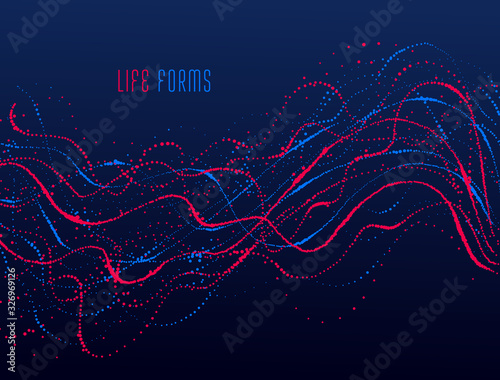 Photo Dots particles flowing array vector abstract background, biology science theme design, dynamic elements in motion