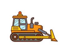 Bulldozer Isolated On White Background. Construction Icon.