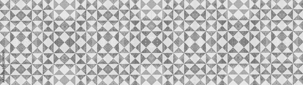 Fototapeta Gray white traditional motif tiles texture background banner panorama - Vintage retro cement tile with triangular square pattern