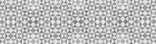 Gray White Traditional Motif Tiles Texture Background Banner Panorama - Vintage Retro Cement Tile With Triangular Square Pattern