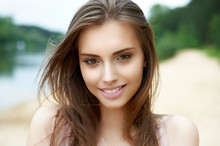 Beautiful Cute Smiling Woman O...