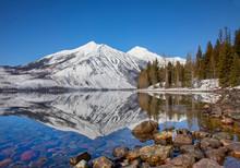 Lake McDonald Mountain Reflection In Glacier National Park, Montana, USA