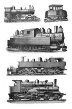 Antique Locomotive - Train Collage / Antique Engraved Illustration From Brockhaus Konversations - Lexikon 1908