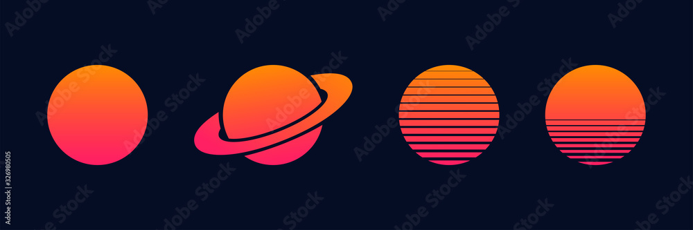 Fototapeta Outrun sun set vector planets isolated for decoration design. Futuristic design illustration. Summer vector illustration. Disco design. Vintage 1980s music illustration.