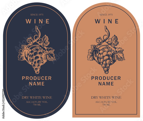 Set of two vector wine labels with hand-drawn bunch of grapes and calligraphic inscription in retro style in black and orange colors Tableau sur Toile