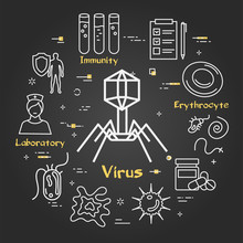 Vector Black Concept Of Bacteria And Viruses - Bacteriophage Icon