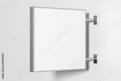Photo Square singboard or signage isolated on the white wall with blank white sign mock up